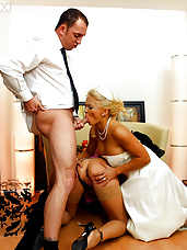 Bride and groom penetrating