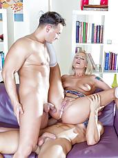 Blond schoolgirl having sex with two teachers