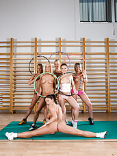 Horny, athletic girls compete for big dick