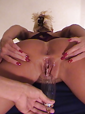Stunning blonde gets fucked then drips the cum in a glass and drinks it