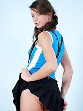 Horny sexy babe and sweet in tiny black mini skirt